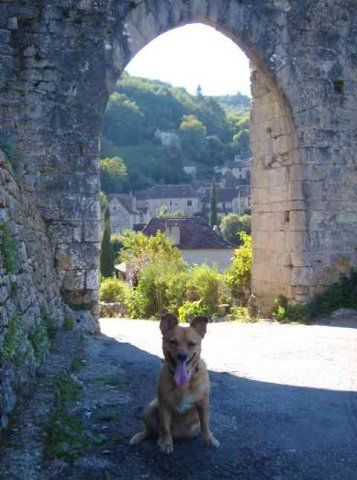 Julio in the beautiful medieval town of Saint-Cirq-Lapopie, in S.W.France.