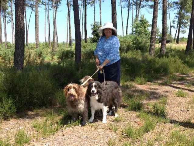 Annette with Leo and Dylan, enjoying a shady walk in the pine trees, on their journey from Estepona in S.Spain to Southend in Essex.
